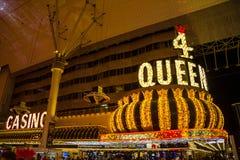 佛瑞蒙街的,拉斯维加斯四位女王赌博娱乐场 免版税图库摄影