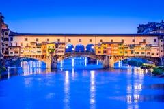 佛罗伦萨、托斯卡纳、意大利- Ponte Vecchio和Palazzo Vecchio 库存图片