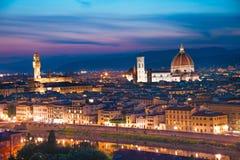 佛罗伦萨一幅美妙的全景从米开朗基罗广场的我 免版税库存照片