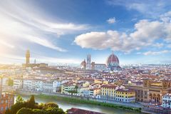 佛罗伦萨一幅美妙的全景从米开朗基罗广场的 免版税库存照片