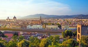 佛罗伦萨一幅美妙的全景从米开朗基罗广场a的 免版税库存图片