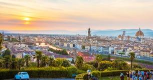 佛罗伦萨一幅美妙的全景从米开朗基罗广场a的 库存图片