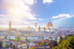 佛罗伦萨一幅美妙的全景从米开朗基罗广场a的 免版税库存照片