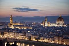佛罗伦萨中世纪镇有中央寺院的,意大利 图库摄影