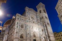 佛罗伦萨中央寺院美丽的大理石门面,Cattedrale二圣玛丽亚del菲奥雷 免版税库存图片