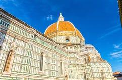 佛罗伦萨中央寺院,Cattedrale二圣玛丽亚del菲奥雷,花大教堂的圣玛丽大教堂圆顶  库存图片