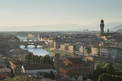 佛罗伦萨佛罗伦萨美好的都市风景地平线  免版税图库摄影