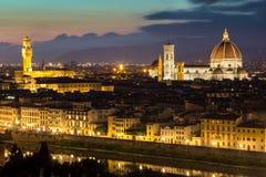 佛罗伦萨全景视图在日落以后的从Piazzale Michelangel 库存照片