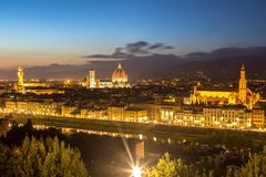 佛罗伦萨全景视图在日落以后的从Piazzale Michelangel 免版税库存图片