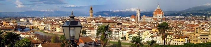 佛罗伦萨全景从Piazzale米开朗基罗意大利的 免版税图库摄影