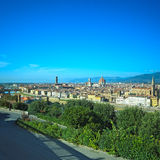 佛罗伦萨地平线。 从米开朗基罗公园的全景。 库存图片
