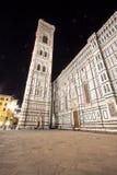 佛罗伦萨大教堂和钟楼在晚上,意大利 图库摄影