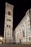 佛罗伦萨大教堂和钟楼在晚上,意大利 免版税图库摄影