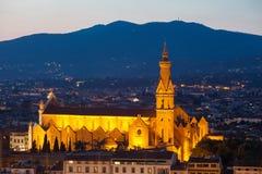 佛罗伦萨大教堂看法在晚上 免版税库存图片