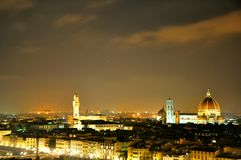 佛罗伦萨市在晚上之前,意大利 库存照片