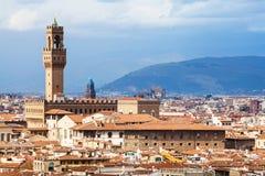 佛罗伦萨市地平线有Palazzo的Vecchio 图库摄影