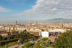 佛罗伦萨市视图从在小山名字Piazzale Mich的观点 免版税库存图片