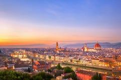 佛罗伦萨日落视图 库存照片