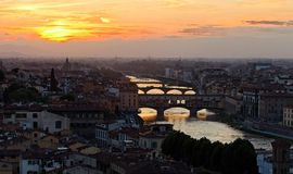 佛罗伦萨日落 库存照片