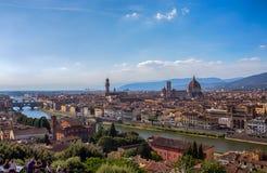 佛罗伦萨看法从Piazzale米开朗基罗,托斯卡纳,意大利的 免版税库存照片