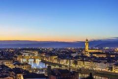 佛罗伦萨看法和Ponte Vecchio,意大利 免版税库存照片
