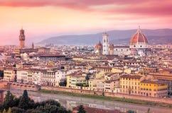 佛罗伦萨看法日落的在梦想的样式 免版税库存图片