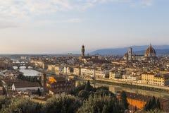 佛罗伦萨看法日落的从Piazzale米开朗基罗 库存照片