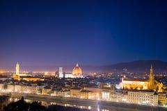 佛罗伦萨米开朗基罗晚上piazzale视图 库存照片