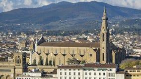 佛罗伦萨美好的鸟瞰图从Piazzale米开朗基罗的 免版税库存照片