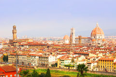 佛罗伦萨视图 Palazzo圣玛丽亚Vecchio和大教堂  库存照片