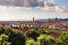 佛罗伦萨都市风景看法从Piazzale米开朗基罗俯视 免版税库存图片