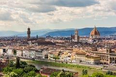 佛罗伦萨都市风景看法从Piazzale米开朗基罗俯视 图库摄影