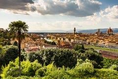佛罗伦萨都市风景看法从Piazzale米开朗基罗俯视 库存图片