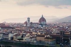 佛罗伦萨风景看法日落的 免版税库存图片
