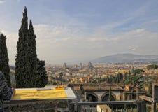 佛罗伦萨鸟瞰图,当绘风景时 库存图片