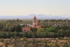 佛罗伦萨,亚利桑那:圣安东尼` s -一个修道院在沙漠 库存照片
