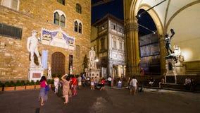 佛罗伦萨,广场della的Signoria意大利游人 免版税库存照片