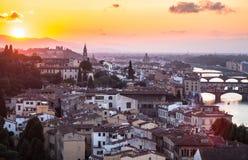 佛罗伦萨,意大利的看法日落的 库存图片