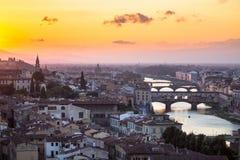 佛罗伦萨,意大利的看法日落的 库存照片