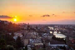 佛罗伦萨,意大利的看法日落的 免版税库存图片