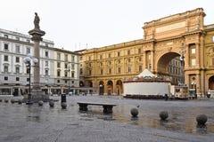 佛罗伦萨,意大利- 2017年9月17日:广场dela Repubblica 图库摄影