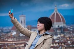 佛罗伦萨,意大利- 2009年1月23日:Piazzale米开朗基罗米开朗基罗广场, selfie 图库摄影