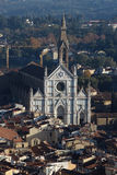 佛罗伦萨,意大利- 2015年11月:三塔Croce大教堂,鸟瞰图 库存照片