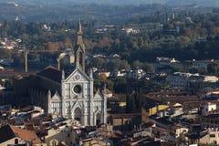 佛罗伦萨,意大利- 2015年11月:三塔Croce大教堂,鸟瞰图 图库摄影