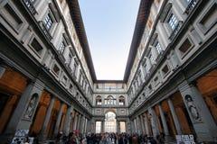 佛罗伦萨,意大利- 2015年11月:乌菲齐博物馆,外在 免版税库存图片