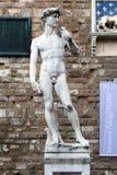 佛罗伦萨,意大利- 2015年11月:米开朗基罗Buonarrotin菲奥雷大教堂,洪水细节大卫雕象  库存照片