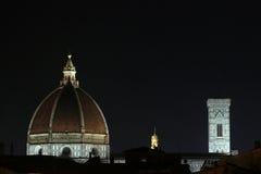 佛罗伦萨,意大利- 2015年11月:Brunelleschi圆顶在夜,城市的风景之前 库存图片