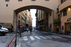 佛罗伦萨,意大利- 2017年2月06日-有房子的街道有gre的 免版税库存图片
