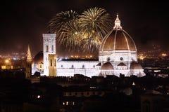 佛罗伦萨,托斯卡纳,意大利大教堂有烟花的 图库摄影
