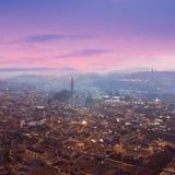 佛罗伦萨,托斯卡纳,意大利鸟瞰图  从大教堂圣的看法 免版税库存照片